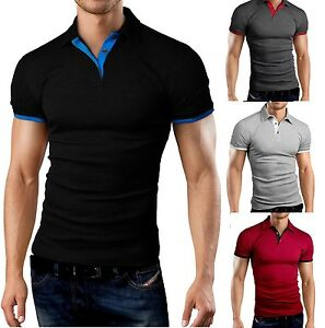 New-Mens-Polo-Shirt-T-Shirt-Top-Short-Sleeve-Contrast-Colours-M-L-XL-PL02