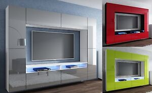 Wohnwand design modern  Wohnwand Design Modern LED Beleuchtung Hochglanz Concept Orion ...