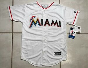 low priced 7251b 919d8 Details about NWT MAJESTIC Cool Base Miami Marlins Ichiro Suzuki MLB WHITE  Jersey Youth Small