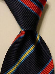 VITALIANO-PANCALDI-Men-039-s-Silk-Necktie-ITALY-Luxury-STRIPED-Blue-Red-Yellow-EUC