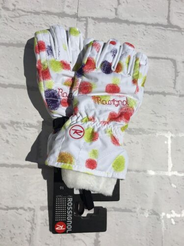 Rossignol Girls Waterproof Skiing Gloves White Blasted Flake Size 16