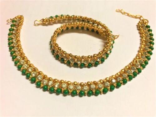Chapado en Oro 22K con Perlas de Cristal para Mujer Tobillera Fiesta Nupcial Graduación pulseras