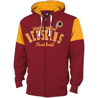 Washington Redskins MENS Full Zip Up Sweatshirt Fair Catch Hoodie Maroon/Yellow