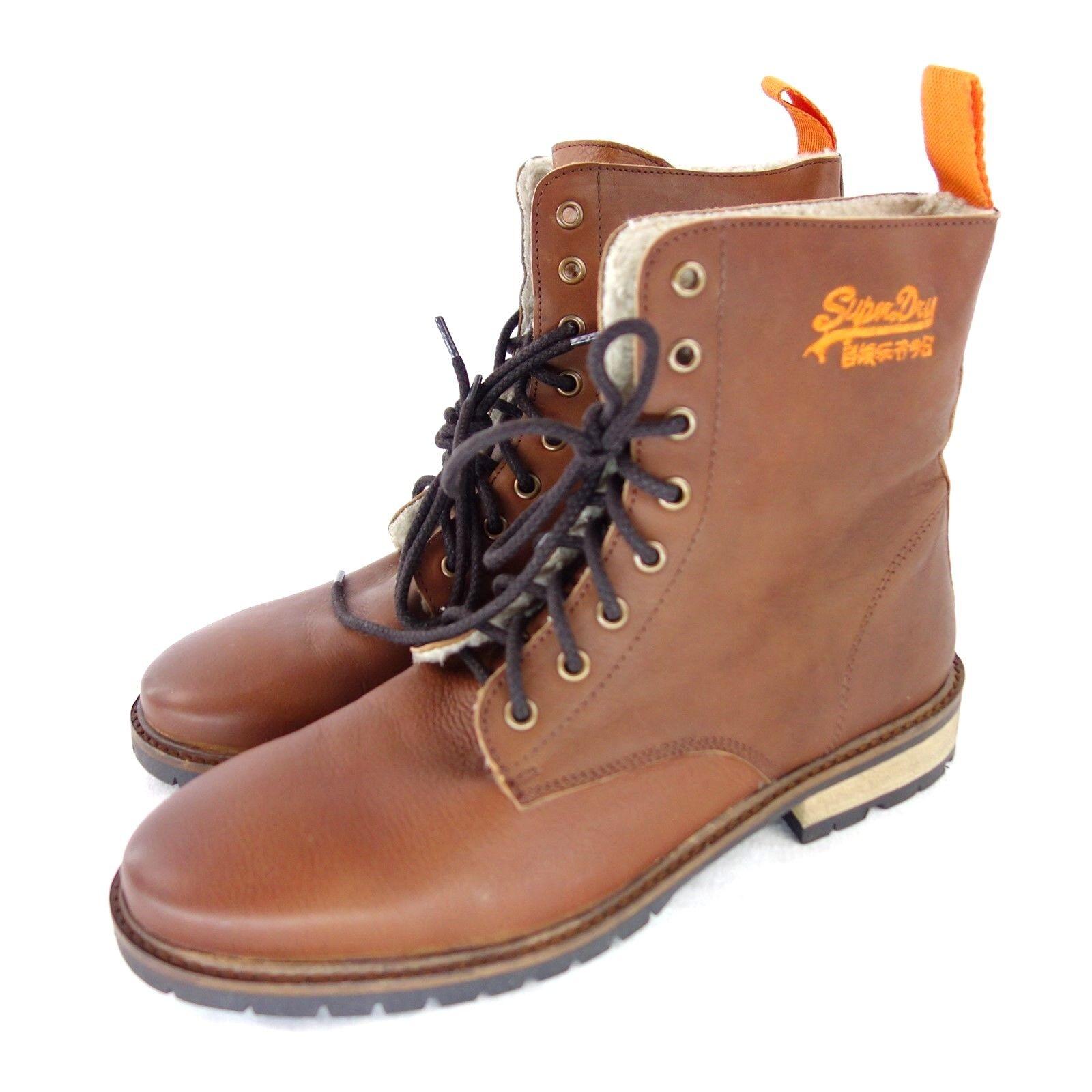 SUPERDRY Herren Boots Stiefel Gr 43 Braun Leder Fell Futter Warm NP 139 NEU