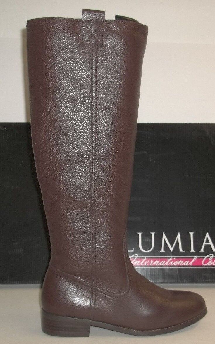 Lumiani Size 7 M WIDE CALF LACEY Brown Pebble Leather Boots New Womens shoes