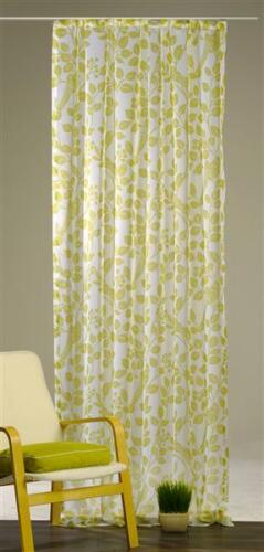 140x245 cm Voile Dekoschal Fantine Gardine grün Vorhang Blattmuster ca