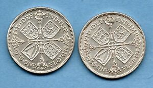 1935-amp-1936-GEORGE-V-SILVER-FLORIN-COINS-2-X-TWO-SHILLINGS-IN-HIGH-GRADE