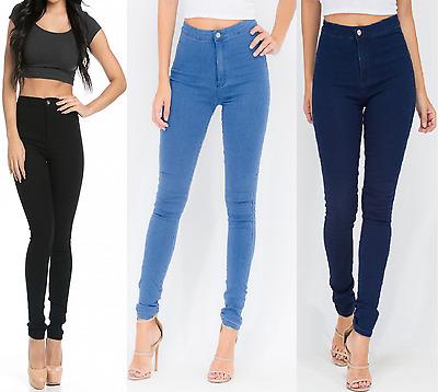 New Womens Ladies GIRL VIVI Skinny Fit High Waisted Denim Jeans Jegging UK 6-16