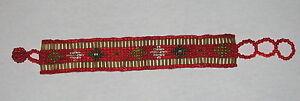 Handmade-Beaded-Bracelet-OA-Regalia-RED-Fits-6-034-to-7-5-034-BR2