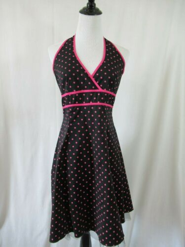 Taboo Pink Polka Dot Black Halter Party Dress Juni
