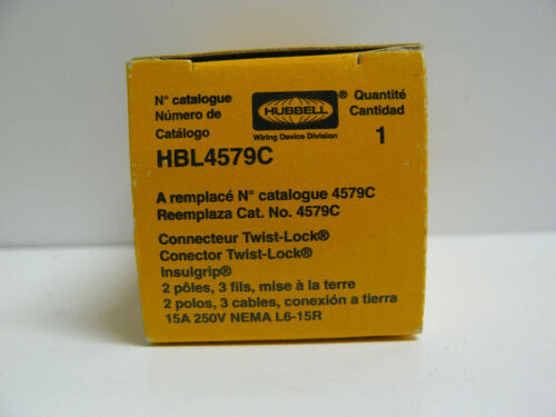 New Hubbell HBL4579C twist lock connector 15 amp 250 volt nema l6-15r