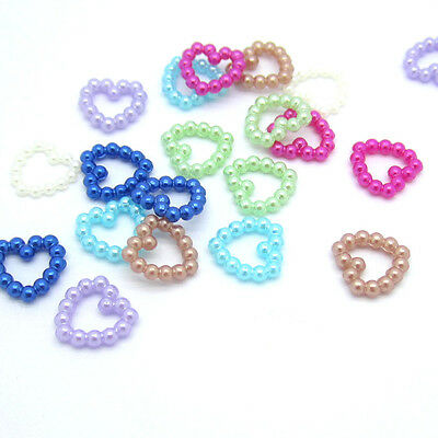 NEW 100pcs DIY Resin heart Scrapbooking For making phone craft U Pick Colors