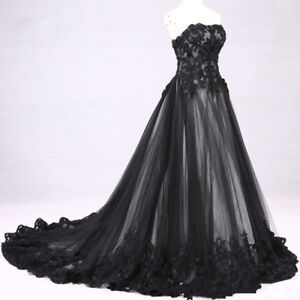 Black Victorian Gothic Lace Applique Wedding Dress Bridal Gown
