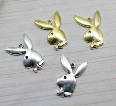 8//25pcs 33x21mm Antique Silver bronze Lovely  Playboy rabbit head Charms Pendant