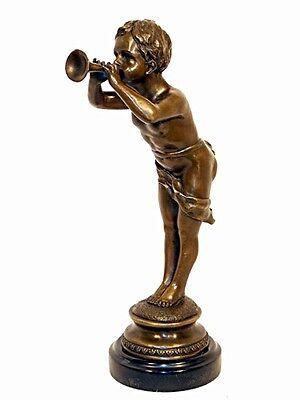 Jugendstil Bronze Junge Mit Fanfare Signiert Louis Kley Top Wassermelonen