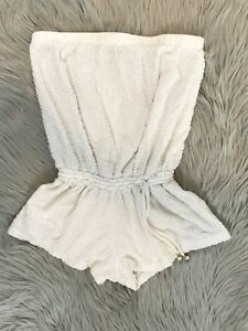 e5989e5298 Trina Turk Terry Cloth White Swimsuit Cover Up Textured Strapless ...