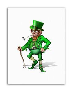 CGI-LEPRECHAUN-IRISH-MYTHOLOGY-GREEN-Poster-Painting-Illustration-Canvas-art