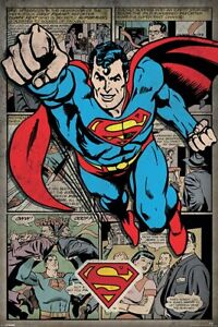 SUPERMAN-IN-ACTION-CLASSIC-DC-COMICS-MONTAGE-36-034-x-24-034-91-x-61-cm-POSTER-x
