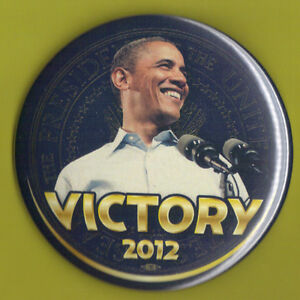"""2012 Barack Obama 3/"""" Pin 15 /""""VICTORY/"""" Presidential Campaign Button"""