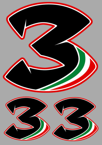 SET DE 3 X NUMEROS 3 MAX SUPERBIKE MOTO GP GRAND PRIX AUTOCOLLANT STICKER MA186.