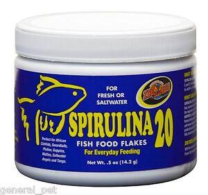 Zoo med 39 s spirulina 20 fish food flakes 05 oz for Spirulina fish food