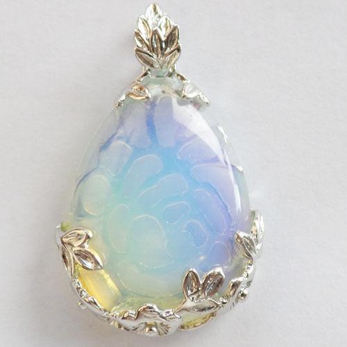 R0045752 Beautiful Wire Wrap Opal Opalite Teardrop Pendant Bead