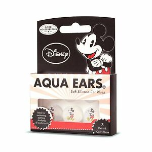 Kids Swimming Ear plugs - Mickey Mouse AQUAEARS Soft Silicone EarPlugs  3 Pairs