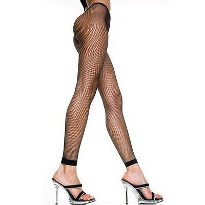 black footless fishnet tights