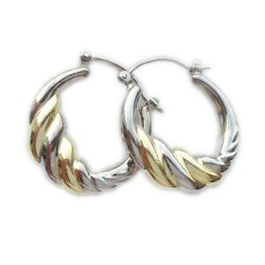 925-Silber-Damen-Ohrringe-Creolen-bicolor
