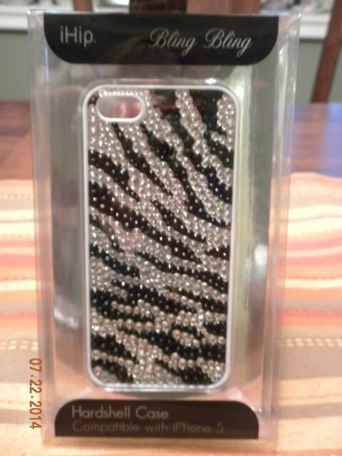 IHip Silver/Black Bling Bling Protective Hardshell Case for iPhone 5 - New