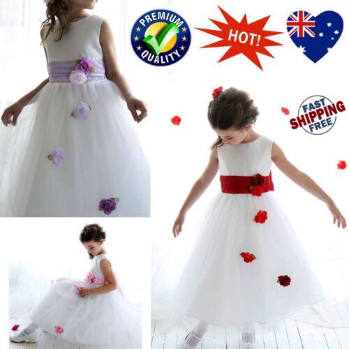 White Flower Girl Dress Girls Wedding Birthday Party Dress Pink Red Lilac Sash