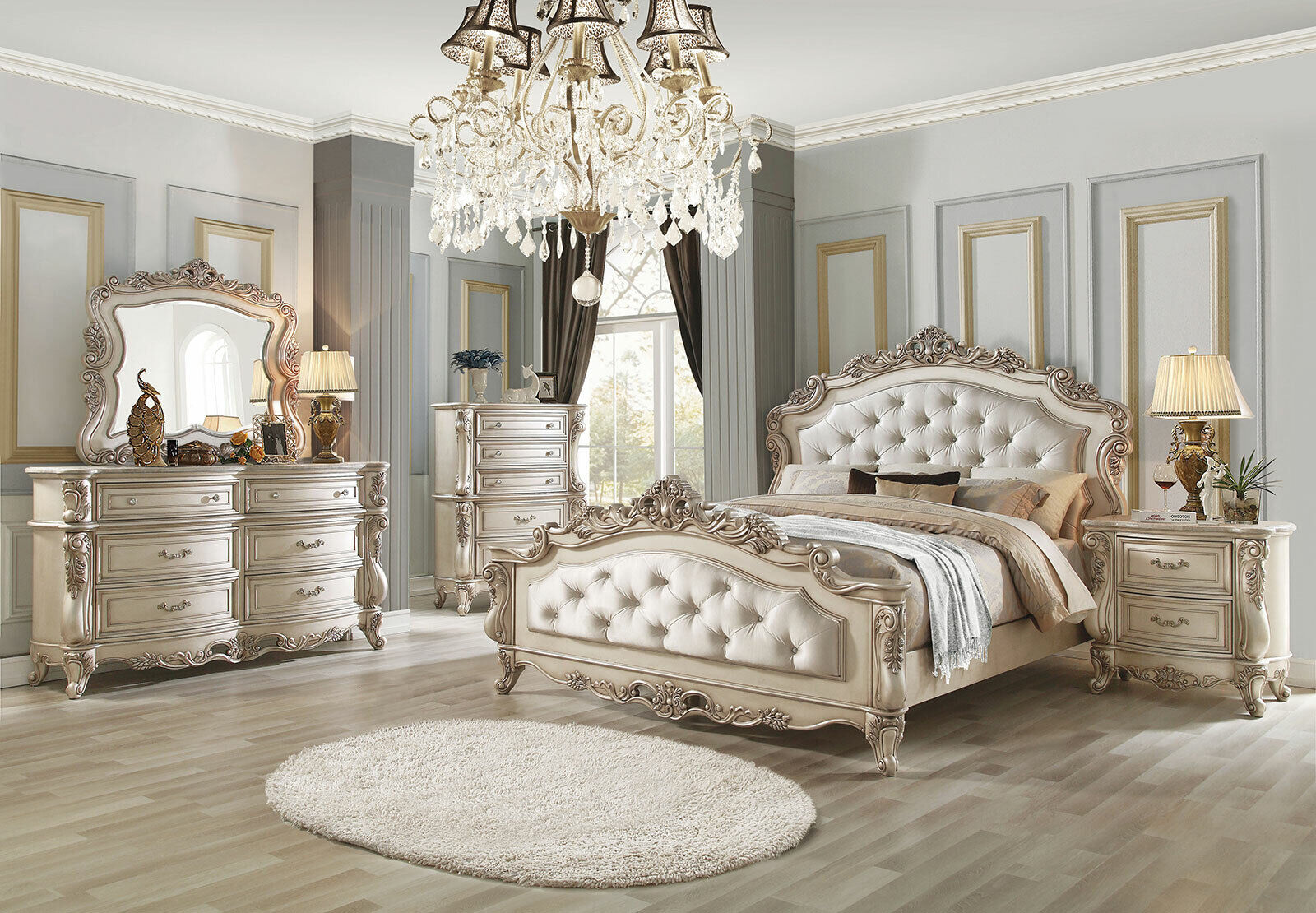 Old World Design Antique White Bedroom Furniture 5pcs King Fabric Bed Set Iaa0 For Sale Online Ebay