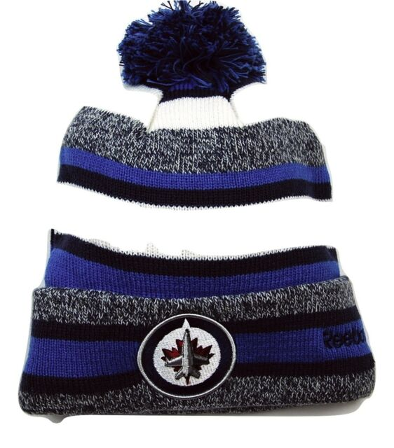 Winnipeg Jets Reebok NHL Hockey Pom Pom Heathered Stripe Winter Hat Beanie  Toque 8917fca2224