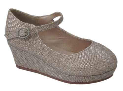 New Gold Champagne Kids Girls Dress Glitter Shoes Wedges Heels Platform Wedding
