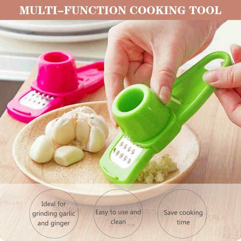 Garlic Press Grinding Grater Slicer Mincer Cutter Kitchen Tool Stainless BR