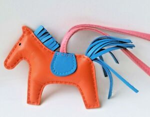 34be679deb3d Authentic NEW Hermes Rodeo Horse bag charm Orange Pink Blue PM Small ...