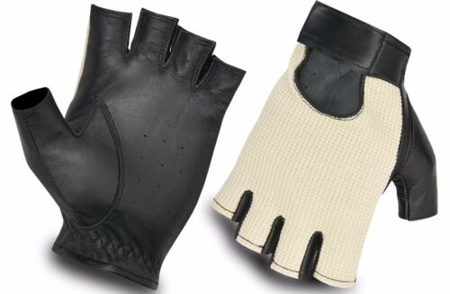 NEW LUXURY DRIVING GLOVES CLASSIC STYLE REAL LEATHER MESH BACK HALF FINGER GLOVE