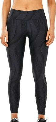 LiebenswüRdig 2xu Mid-rise Print Womens Long Compression Tights - Black