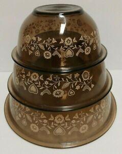 Vintage Set Of 3 Pyrex Friendship Nesting Mixing Bowls Amber Brown