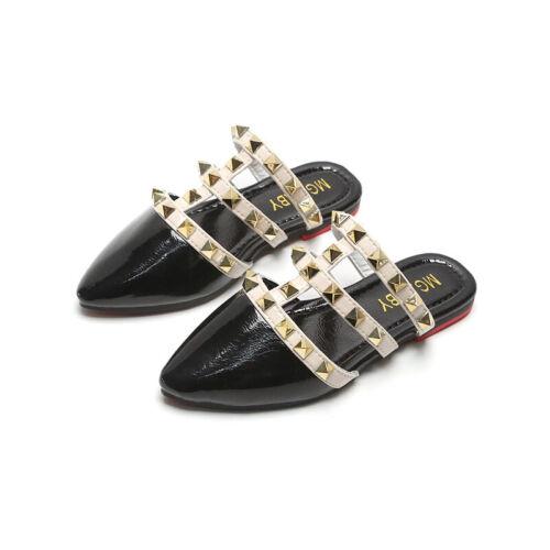24-34 Kids Girls Roman Rivet Priness Shoes Open Toe Slipper Fashion Flats