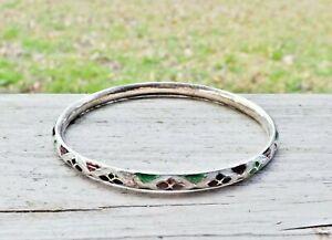 Guilloche-Enamel-Sterling-Silver-925-Unique-Deco-Floral-Stack-Bangle-Bracelet