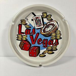 Vintage-Las-Vegas-Souvenir-Ashtray-Ceramic-6-034-Wide