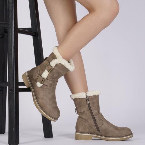 US Women/'s Winter Boots Warm Faux Fur  Mid Calf Fashion Snow Boot Shoe Size 5-10