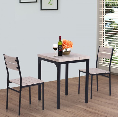 Small Dining Table 2 Chairs Set Square Breakfast Space Saving Compact Seater New Ebay