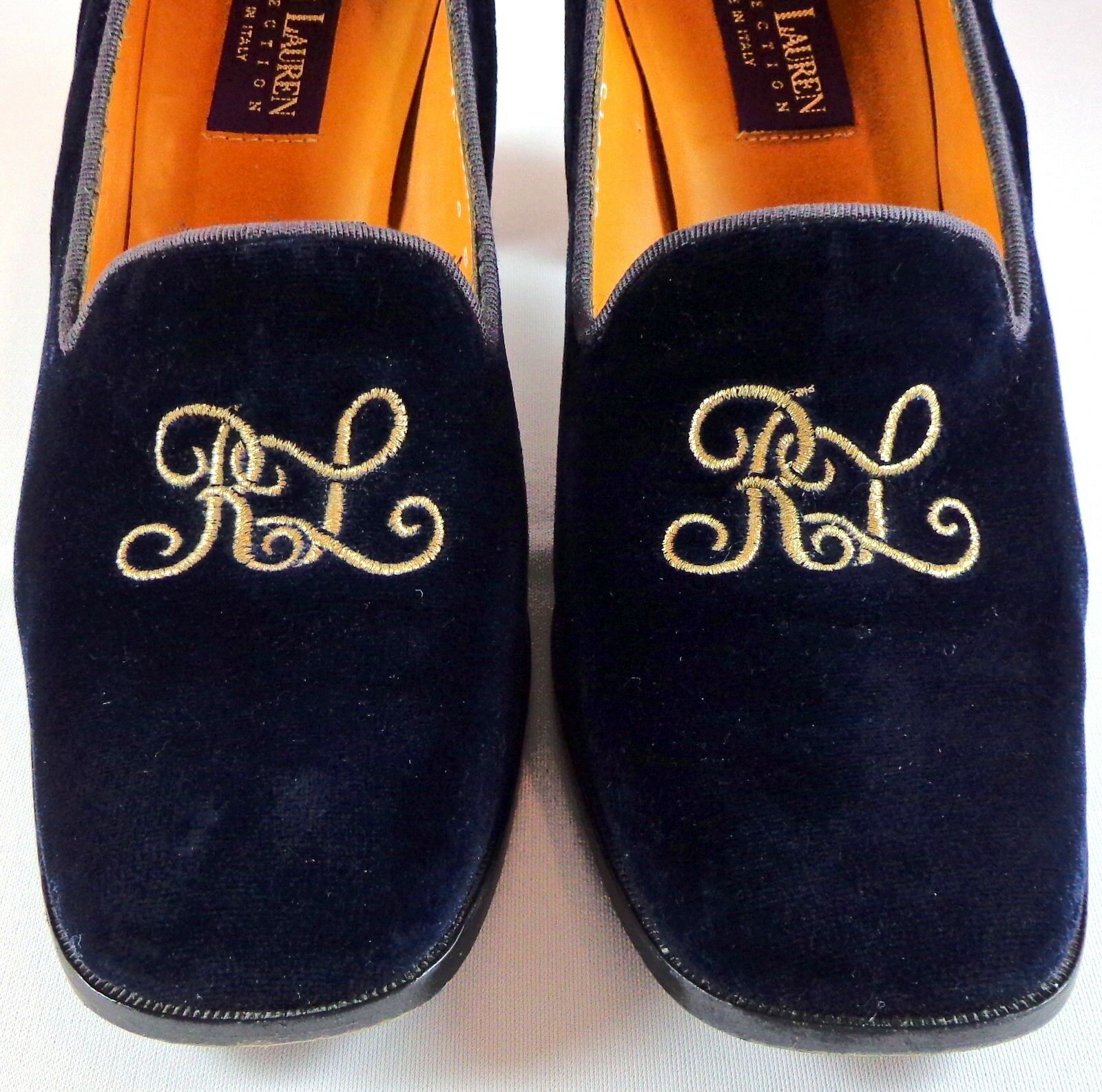 Ralph Lauren Collection Womens Blue Velvet Pumps Size 9 B RL Monogram