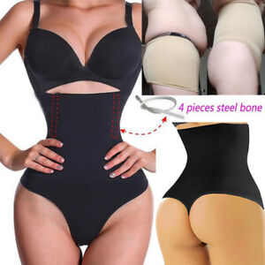 7c22593f5b6f8 Image is loading Women-Thong-Shapewear-Boned-Tummy-Control-High-Waist-