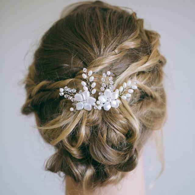 1 Pc Pearl Rhinestone Hair Plug Bride Headdress Handmade Hairpin Wedding Jewelry