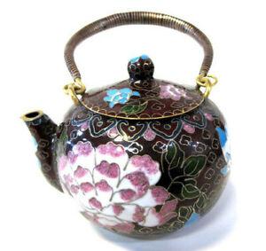 Chinese-6-034-W-Vintage-Cloisonne-Brown-Bronze-Brass-Copper-Floral-Enamel-Teapot