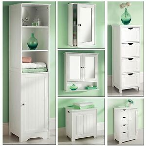 White wooden bathroom cabinet shelf cupboard bedroom storage unit free standing ebay for White bathroom cabinets free standing
