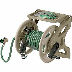 Hose Handler Wall-Mount Hose Reel With Tray - Dark Taupe